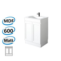 590x450x820mm Miami Freestanding Kickboard Bathroom Vanity MATT WHITE Shaker Hampton Style Cabinet ONLY&Ceramic/Poly Top Available