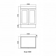 590x450x820mm Miami Freestanding Kickboard Bathroom Vanity M..