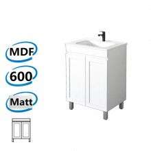 590x450x820mm Miami Freestanding with Adjustable Legs Bathroom Vanity MATT WHITE Shaker Hampton Style Cabinet ONLY&Ceramic/Poly Top Available