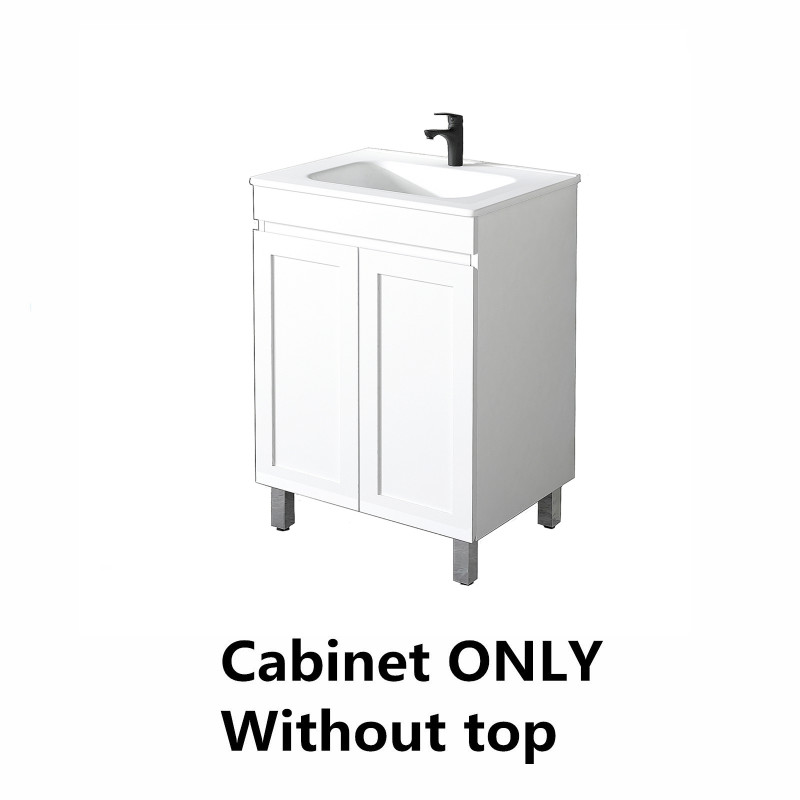 590x450x820mm Miami Freestanding with Adjustable Legs Bathroom Vanity MATT WHITE Shaker Style Cabinet ONLY&Ceramic/Poly Top Available