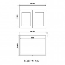 590x450x505mm Miami Wall Hung Bathroom Floating Vanity MATT WHITE Shaker Hampton Style Cabinet ONLY&Ceramic/Poly Top Available