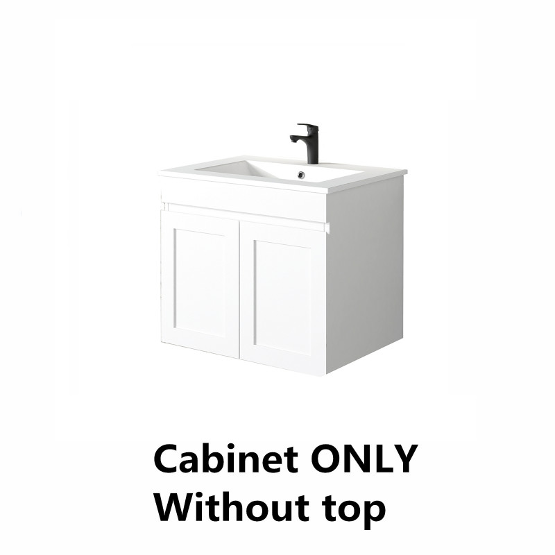 590x450x505mm Miami Wall Hung Bathroom Floating Vanity MATT WHITE Shaker Style Cabinet ONLY&Ceramic/Poly Top Available