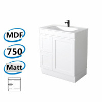 735x450x820mm Miami Freestanding Kick-board Bathroom Vanity MATT WHITE Shaker Hampton Style Left Drawers Cabinet ONLY&Ceramic/Poly Top Available