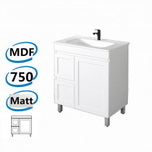 735x450x820mm Miami Freestanding LEGS Bathroom Vanity MATT WHITE Shaker Hampton Style Left Drawers Cabinet ONLY&Ceramic/Poly Top Available