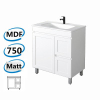 735x450x820mm Miami Freestanding LEGS Bathroom Vanity MATT WHITE Shaker Hampton Style RIGHT Drawers Cabinet ONLY&Ceramic/Poly Top Available