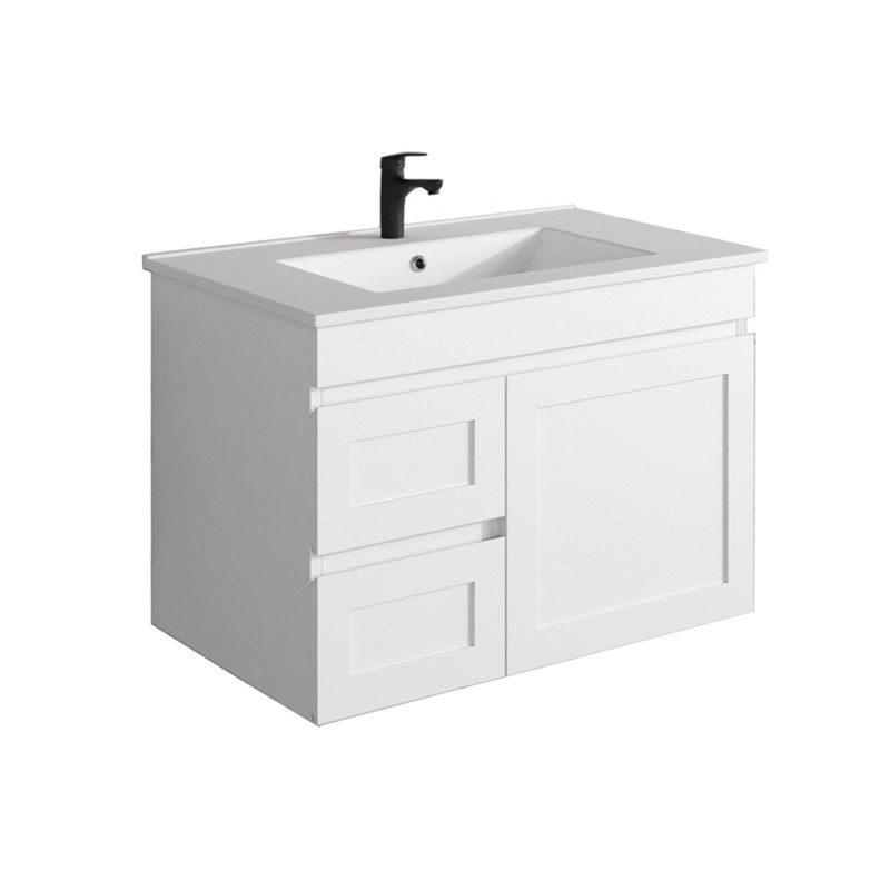 735x450x505mm Miami Wall Hung Bathroom Floating Vanity MATT WHITE Shaker Style Left Drawers Cabinet ONLY&Ceramic/Poly Top Available