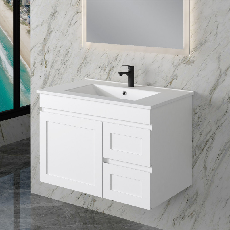 735x450x505mm Miami Wall Hung Bathroom Floating Vanity MATT WHITE Shaker Style RIGHT Drawers Cabinet ONLY&Ceramic/Poly Top Available