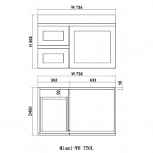 735x450x505mm Miami Wall Hung Bathroom Floating Vanity MATT WHITE Shaker Hampton Style Left Drawers Cabinet ONLY&Ceramic/Poly Top Available