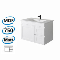 735x450x505mm Miami Wall Hung Bathroom Floating Vanity MATT WHITE Shaker Hampton Style RIGHT Drawers Cabinet ONLY&Ceramic/Poly Top Available
