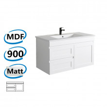 882x450x505mm Miami Wall Hung Bathroom Floating Vanity MATT WHITE Shaker Hampton Style Left Drawers Cabinet ONLY&Ceramic/Poly Top Available