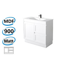 882x450x820mm Miami Freestanding with Kick-board Bathroom Vanity MATT WHITE Shaker Hampton Style RIGHT Drawers Cabinet ONLY&Ceramic/Poly Top Available