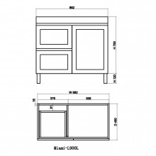 882x450x820mm Miami Freestanding with Legs Bathroom Vanity MATT WHITE Shaker Hampton Style Left Drawers Cabinet ONLY&Ceramic/Poly Top Available