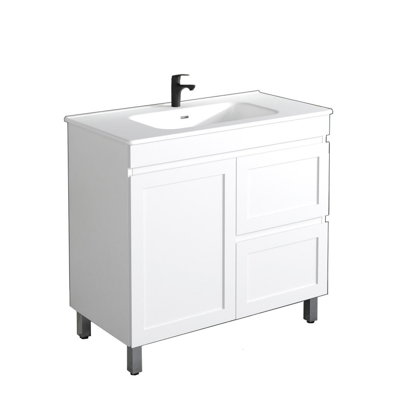 882x450x820mm Miami Freestanding with Legs Bathroom Vanity MATT WHITE Shaker Style RIGHT Drawers Cabinet ONLY&Ceramic/Poly Top Available