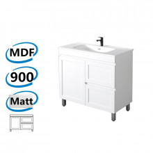 882x450x820mm Miami Freestanding with Legs Bathroom Vanity MATT WHITE Shaker Hampton Style RIGHT Drawers Cabinet ONLY&Ceramic/Poly Top Available