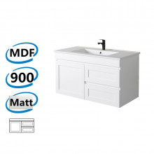 882x450x505mm Miami Wall Hung Bathroom Floating Vanity MATT WHITE Shaker Hampton Style RIGHT Drawers Cabinet ONLY&Ceramic/Poly Top Available