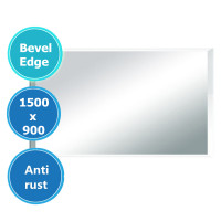 MACHO 1500x900mm Plain Bathroom Mirror Bevel Edge Wall Mounted Vertical or Horizontal