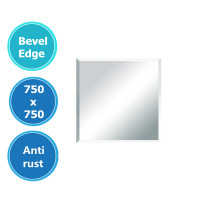 750x750mm Plain Bathroom Mirror Bevel Edge Wall Mounted Vertical or Horizontal