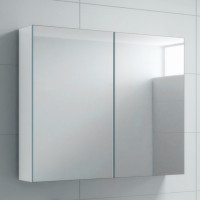 900Lx720Hx150Dmm MDF Pencil Edge White Shaving Cabinet With Mirror Double Doors