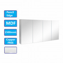 1500Lx720Hx150Dmm MDF Pencil Edge White Shaving Cabinet With Mirror Four Doors