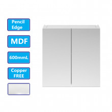 600Lx720Hx150Dmm MDF Pencil Edge White Shaving Cabinet With Mirror Double Doors