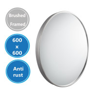MACHO 600x600x40mm Brushed Nickel Stainless Steel Framed Round Wall Mirror with Brackets