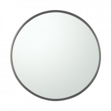 MACHO 800x800x40mm Gunmetal Grey Stainless Steel Framed Round Wall Mirror with Brackets