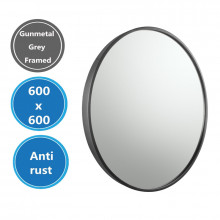 MACHO 600x600x40mm Gunmetal Grey Stainless Steel Framed Round Wall Mirror with Brackets