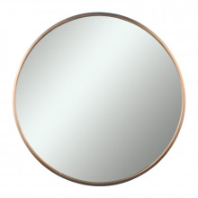 MACHO 600x600x40mm Rose Gold Stainless Steel Framed Round Wall Mirror with Brackets