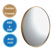 MACHO 800x800x40mm Golden Stainless Steel Framed Round Wall Mirror with Brackets