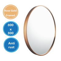 MACHO 800x800x40mm Rose Gold Stainless Steel Framed Round Wall Mirror with Brackets
