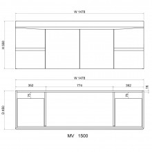1500mm Wall Hung Bathroom Floating Vanity Curved Edge Doors and Drawers Cabinet Only