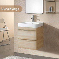 600mm Wall Hung Bathroom Floating Vanity Curved Edge Drawers Cabinet Only