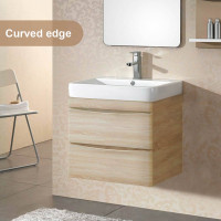 750mm Wall Hung Bathroom Floating Vanity Curved Edge Drawers Cabinet Only