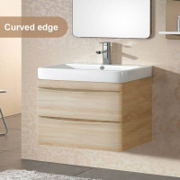 900mm Wall Hung Bathroom Floating Vanity Curved Edge Drawers Cabinet Only