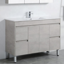 1200mm Freestanding PVC Vanity in Concrete Grey Finish Single Bowl Cabinet ONLY for Bathroom