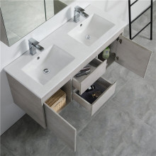 1200mm Wall Hung PVC Vanity in Concrete Grey Finish Double Bowls Cabinet ONLY for Bathroom