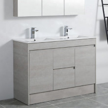 1200mm PVC Kickboard Vanity in Concrete Grey Finish Double Bowls Freestanding Cabinet ONLY for Bathroom