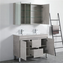 1200mm PVC Vanity in Concrete Grey Finish Double Bowls Freestanding Cabinet ONLY for Bathroom