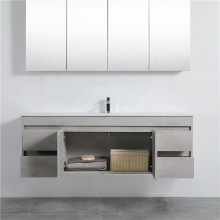 1500mm Wall Hung PVC Vanity in Concrete Grey Finish Single / Double Bowls Cabinet ONLY for Bathroom