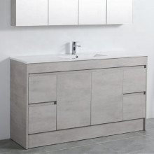 1500mm Kickboard PVC Vanity in Concrete Grey Finish Single / Double Bowls Freestanding Cabinet ONLY for Bathroom
