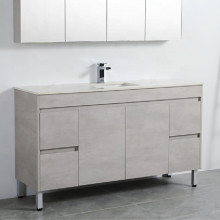 1500mm Freestanding PVC Vanity in Concrete Grey Finish Single / Double Bowls Cabinet ONLY for Bathroom