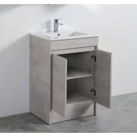 600mm Freestanding with Kickboard Vanity Concrete Grey Finish Polywood Cabinet ONLY for Bathroom