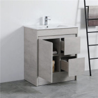 750mm Freestanding Kickboard Vanity in Concrete Grey Finish Left / Right Drawers Cabinet ONLY for Bathroom
