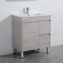 750mm Freestanding Vanity in Concrete Grey Finish Left / Right Drawers Cabinet ONLY for Bathroom