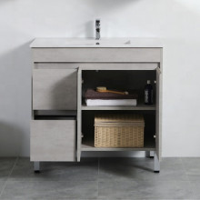 900mm Freestanding PVC Vanity in Concrete Grey Finish Left / Right Drawers Cabinet ONLY for Bathroom