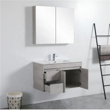 900mm Wall Hung PVC Vanity in Concrete Grey Finish Left / Right Drawers Cabinet ONLY for Bathroom