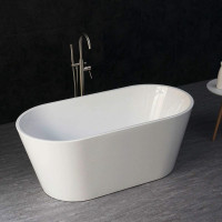 1390x715x585mm Ovia Oval Bathtub Freestanding Acrylic GLOSSY White Bath tub NO Overflow