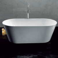 1500x745x580mm Ovia Oval Bathtub Freestanding Acrylic GLOSSY White Bath tub NO Overflow