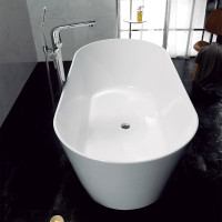 1700x830x578mm Ovia Oval Bathtub Freestanding Acrylic GLOSSY White Bath tub NO Overflow
