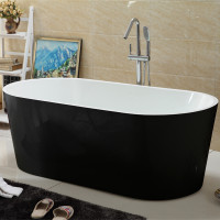 1700x830x578mm Ovia Oval Bathtub Freestanding Acrylic Gloss Black & Gloss White Bath tub NO Overflow